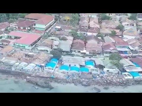 Penampakan dari Udara Pantai Kalianda Lampung Timur Seusai Diterjang Tsunami, 35 Orang Meninggal