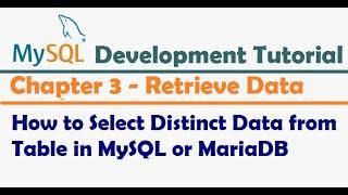 How to Select Distinct Data from Table in MySQL or MariaDB - MySQL Developer Tutorial
