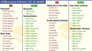 DO vs MAKE: The Difference between DO and MAKE in English (120+ Common Collocations with DO & MAKE)