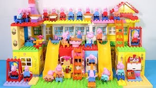 Peppa Pig House Creations With Water Slide Toys - Lego House Toys For Kids