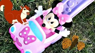 Fun At The Park With Disney Baby Minnie Mouse Push Car Toy And Squirrels