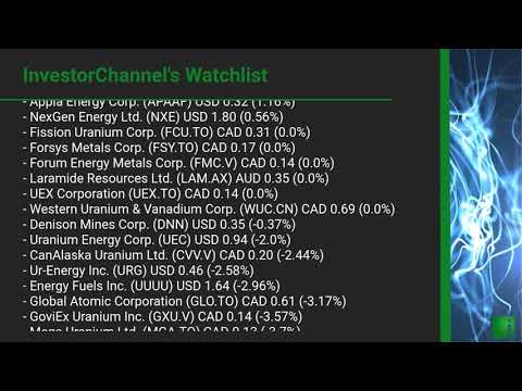InvestorChannel's Uranium Watchlist Update for Thursday, October 22, 2020, 16:30 EST