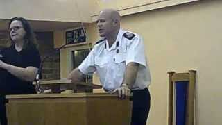 preview picture of video 'Greasby merger West Kirby Upton closure  fire station consultation meeting 10th November 2014 Part 1'