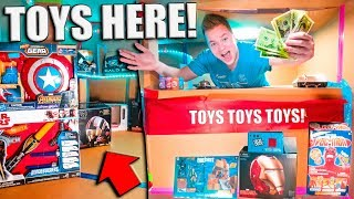 BOX FORT TOY STORE CHALLENGE!! Nerf, Iron Man, Slime & More!