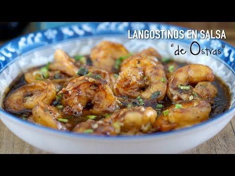 Langostinos con ajo en salsa de ostras (Recetas faciles de la cocina china)