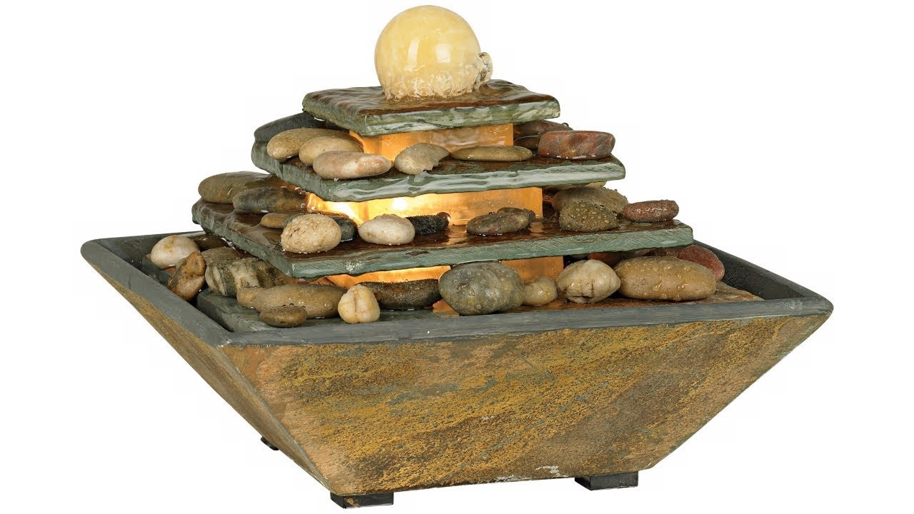"""Four Tiers Feng Shui Copper and Slate 9"""" High Table Fountain"""