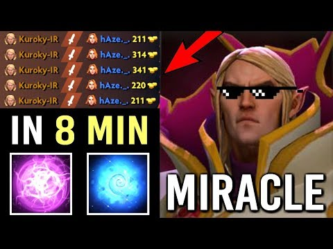 EPIC Miracle- Pro Invoker Delete Lina in 8 Min! Crazy Quas Wex Build Best Gameplay WTF Dota 2