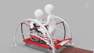 Obsługa huśtawki integracyjnej TERMA przez osobę pełnosprawną i osobę na wózku inwalidzkim
