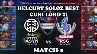 Helcurt Soloz Best Curi Lord !! ASYN vs RSG MSL: Mobile Legends Season 1 - Week 2 Match 1