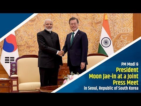 PM Modi & President Moon Jae-in at a Joint Press Meet in Seoul, Republic of South Korea