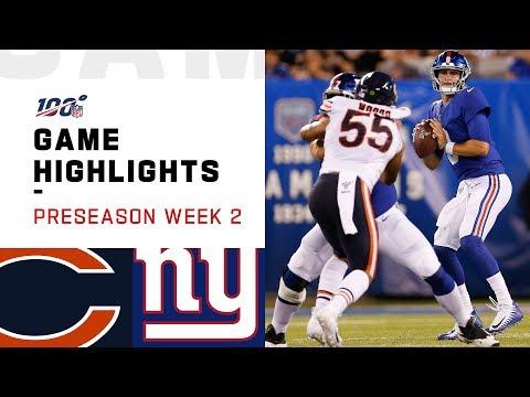 Bears vs. Giants Preseason Week 2 Highlights | NFL 2019