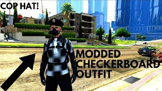 BEST *MODDED* Checkerboard Outfit! - Modded Vest, Shirt, Black Joggers, Cop Hat (PS3/360)