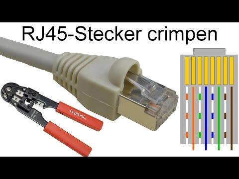 RJ45  Stecker auf Patchkabel crimpen (RJ-45 Netzwerkstecker aufbringen)
