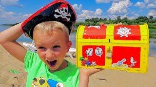 Crianças encontraram tesouro pirata de brinquedo  Vlad e Nikita para crianças