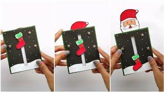 secret santa christmas card idea/slider card/card ideas for scrapbook/secret message birthday card