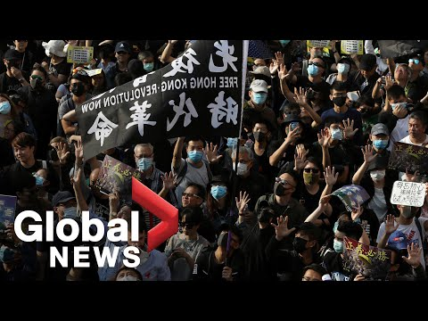 Hong Kong riot police fire pepper spray at protesters during anti-government rally