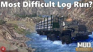SpinTires MudRunner: MOST DIFFICULT LOGGING ROUTE!? HUGE CLIFFS!