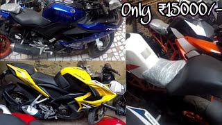 KTM, Apache, R15 in ₹15000/-🔥| Used Bikes in Cheap Price | BIKE MARKET | DELHI | Tushar 51NGH