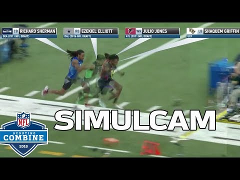40-Yard Dash Simulcam: Shaquem Griffin vs. Sherman, Zeke, Julio & More!   NFL Combine Highlights