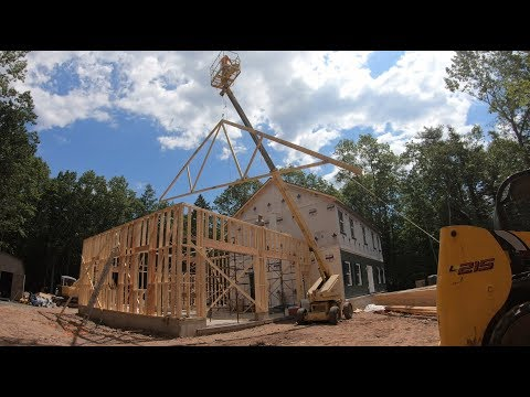 Setting trusses with a boom lift