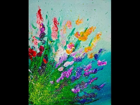 Live Finger Painting Flowers Splatter Abstract Acrylic For