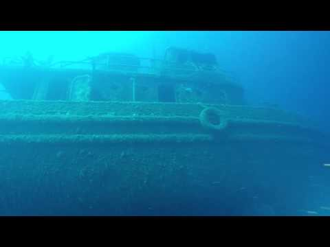 Scuba diving in Deep Wreck, Santorini in Greece