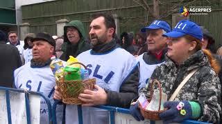Circa 100 de sindicalişti din învăţământ au protestat în faţa Ministerului Muncii nemulţumiţi de Legea salarizării