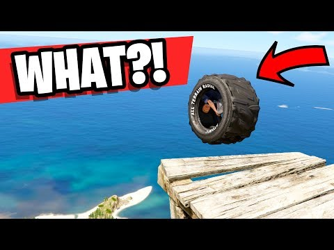 GTA 5 - Driving A GIANT Tire Off A CLIFF - GTA 5 Mods