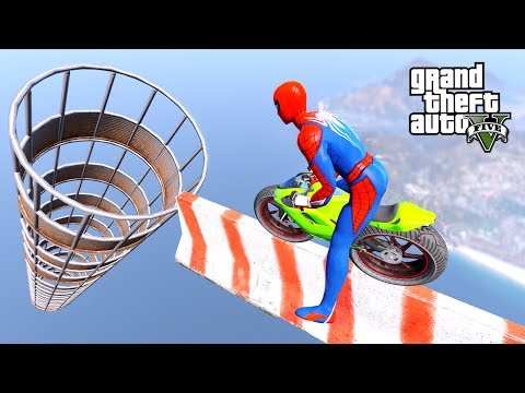 Download Spiderman With Smallest MOTORCYCLE SUPERHEROES PARKOUR CHALLENGE BIG HULK, Iron Man - GTA V MODS Mp4 HD Video and MP3