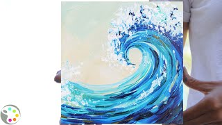 How To Paint In Acrylics | Easy Ocean Wave Painting Tutorial | 15-minute Painting!