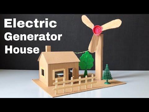 How to Make Mini Wind Turbine from Cardboard - Electric Generator