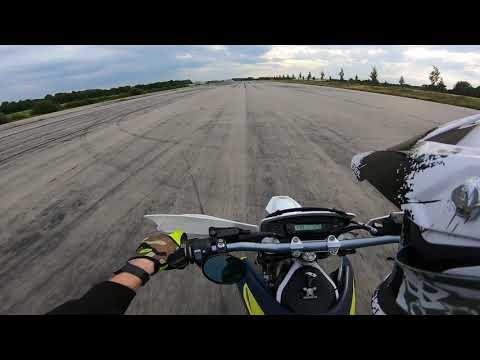 Husqvarna701 Acceleration test on Airfield   Beschleunigungstest
