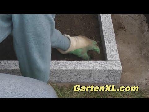 Beeteinfassung mit Randsteinen aus Granit / Leistensteinen / Granitsteinen