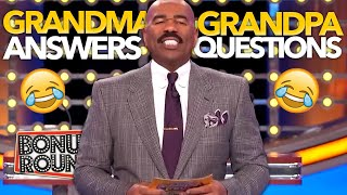 STEVE HARVEY ASKS GRANDMA AND GRANDPA Questions And Answers! Family Feud USA