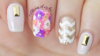 Floral Chevron Nails