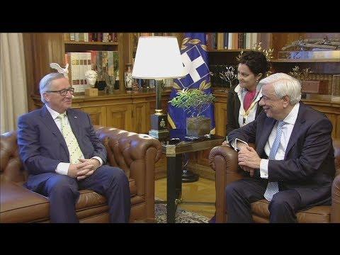 Συνάντηση του Προκόπη Παυλόπουλου με τον Ζαν Κλοντ Γιούνκερ