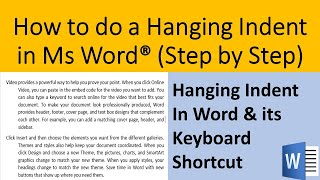 Step by step way to do a hanging indent in Ms Word | How to do a hanging indent in Word [2020]