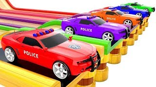 Colored Police Cars Transportation | Colors for Kids | Video for Toddler