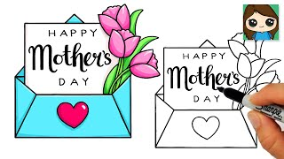 How to Draw a Happy Mother's Day Letter and Envelope 💐