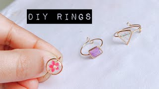 How To Make Finger Rings/making Adjustable Wire And Resin Rings/simple And Cute Ring Making/diy Ring