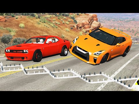 Massive Spike Strip Pile Up Crashes #1 - BeamNG Drive | CrashTherapy