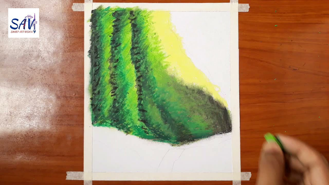 easy landscape drawing oil pastel drawing for beginners by sharp art vision