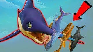 РЫБА МЕЧ ПРОТКНУЛА МЕГАЛОДОНА И ДРУГИХ АКУЛ | Feed and Grow Fish