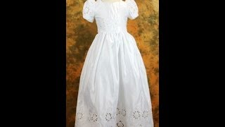 Affordable First Communion Dress With Floral Cutout Design, Floor Length - CBC0001