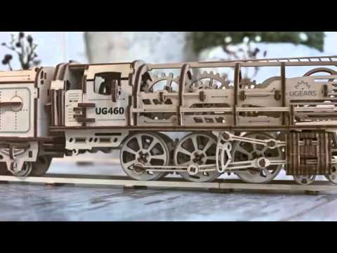 UGears.es Model Locomotive with Tender - Modelo Locomotora de vapor con vagón