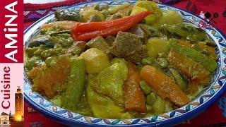 كسكس مغربي على حقو اطرقو  بالخضر و اللحم بطريقة مبسطة و سهلة مرحلة بمرحلة  Couscous Marocain