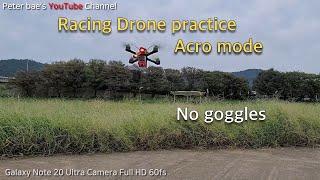 #27 Racing drone acro mode practice 레이싱 드론 아크로 모드 시계비행 연습