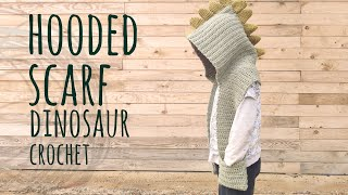 Tutorial Easy Crochet Dinosaur Hooded Scarf | Lanas Y Ovillos In English