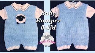 LEFT Handed Crochet Baby Rompers & Lamb Appliqué- Boy Girl Crochet Dungarees 0-9M Crochet For Baby