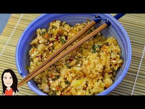 Video Stir Fried Asian Vegetable Cauliflower Rice - No Oil!